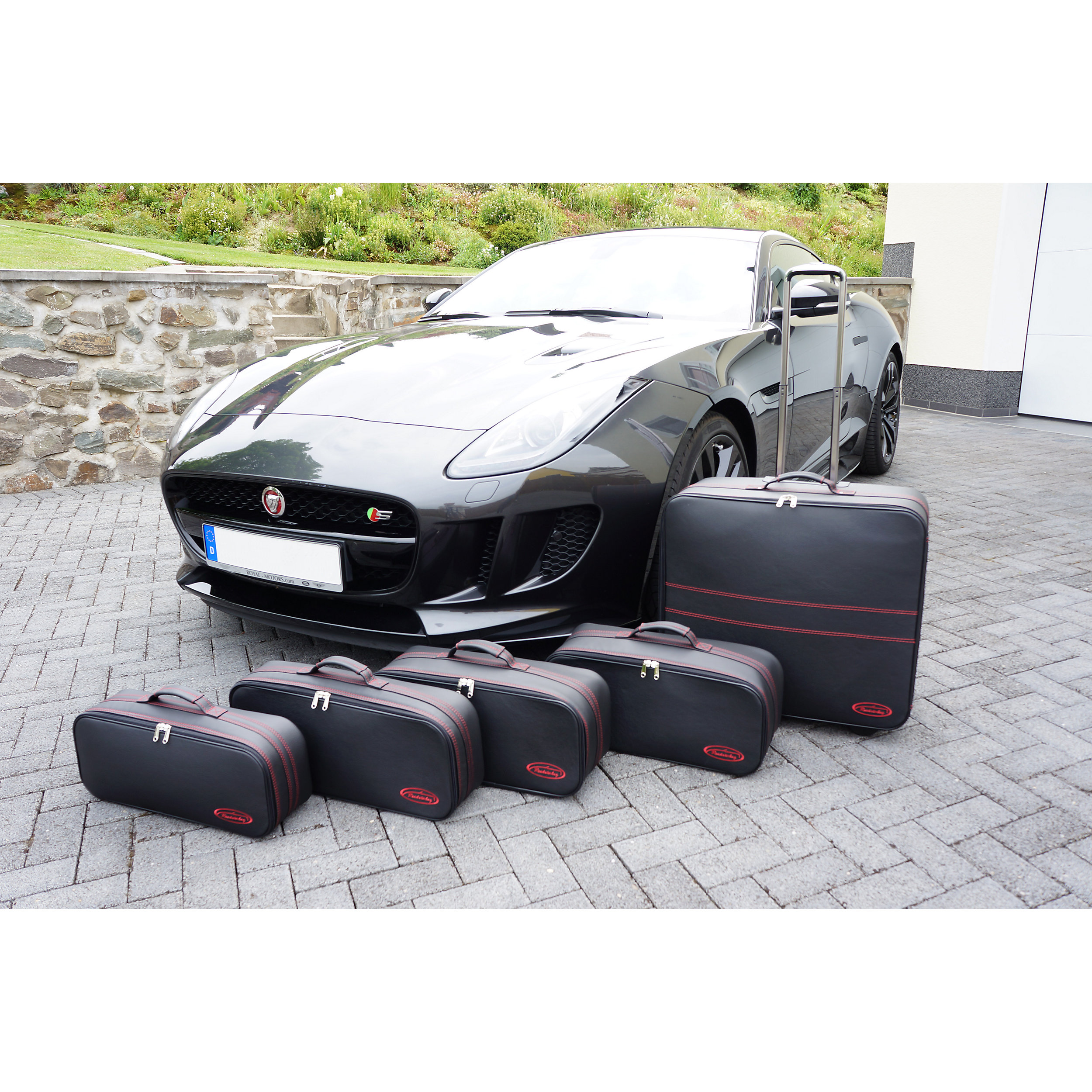 5-tlg. Kofferset mit 2 Rollen Jaguar F-Type Coupé XXL