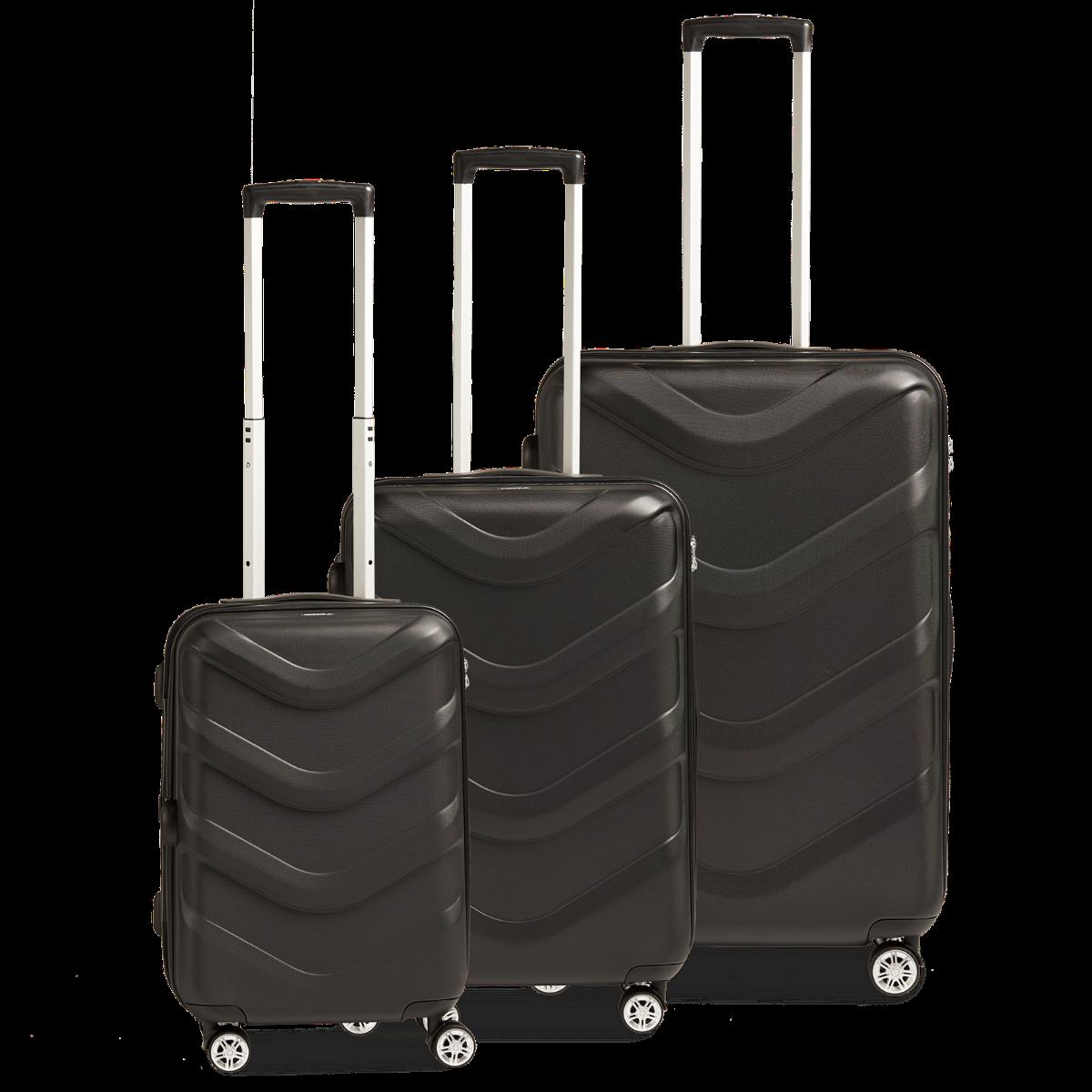 3-tlg. Hartschalen-Koffer-Set mit 4 Rollen, Arrow 2 - Black