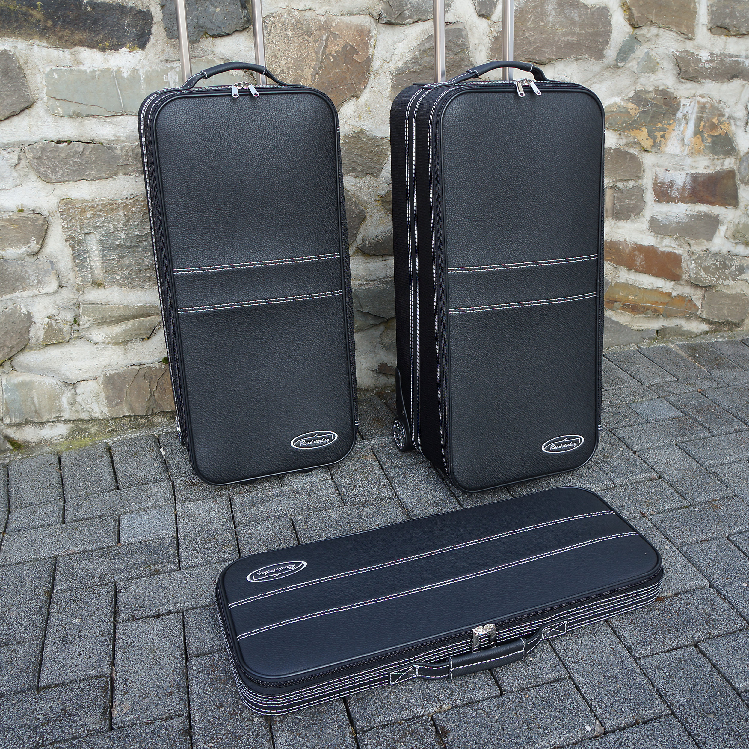 3-part Luggage Set with 2 wheels BMW Z4 (E89) with genuine leather handles 116 Liter