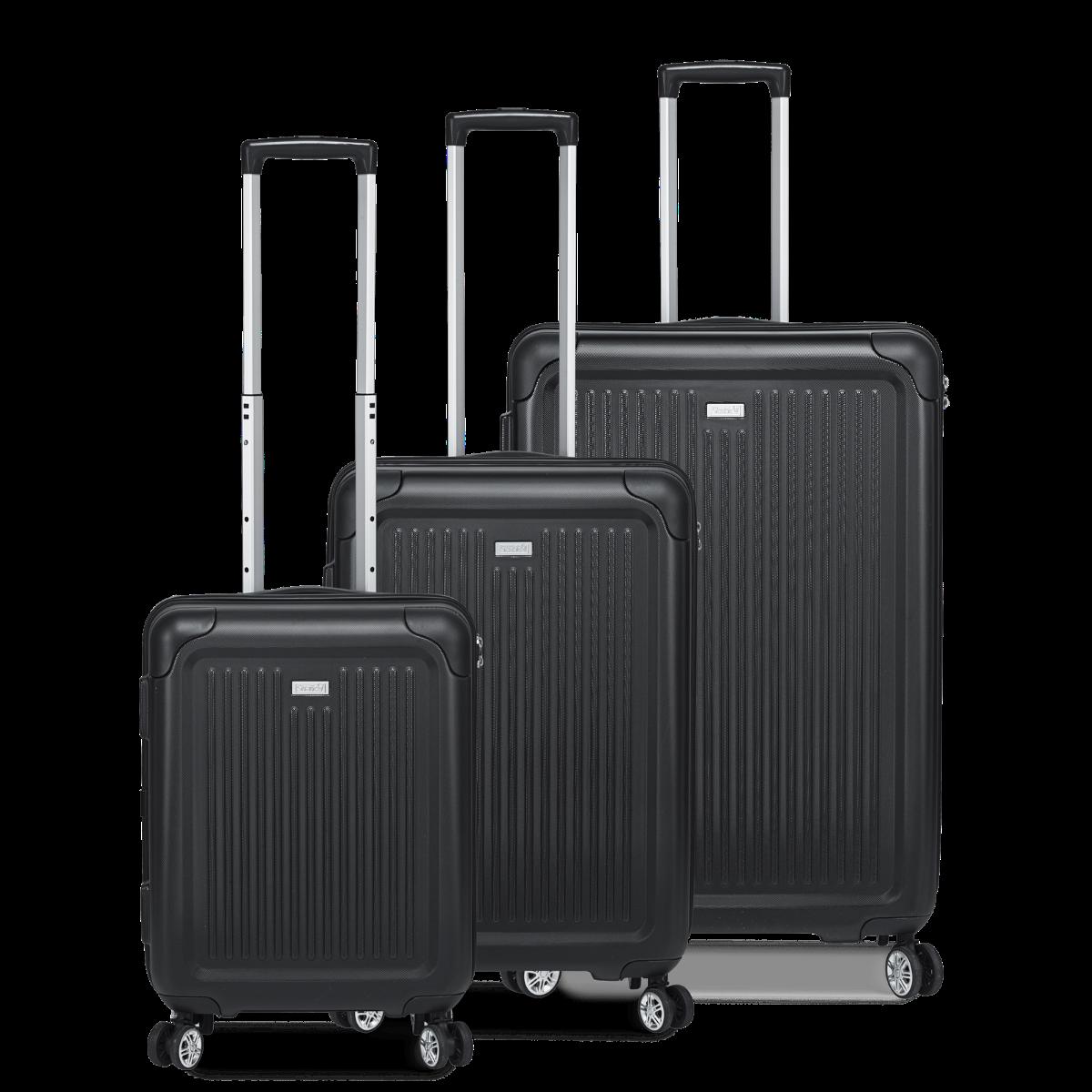 3-tlg. Hartschalen-Koffer-Set mit 4 Rollen, Stripe