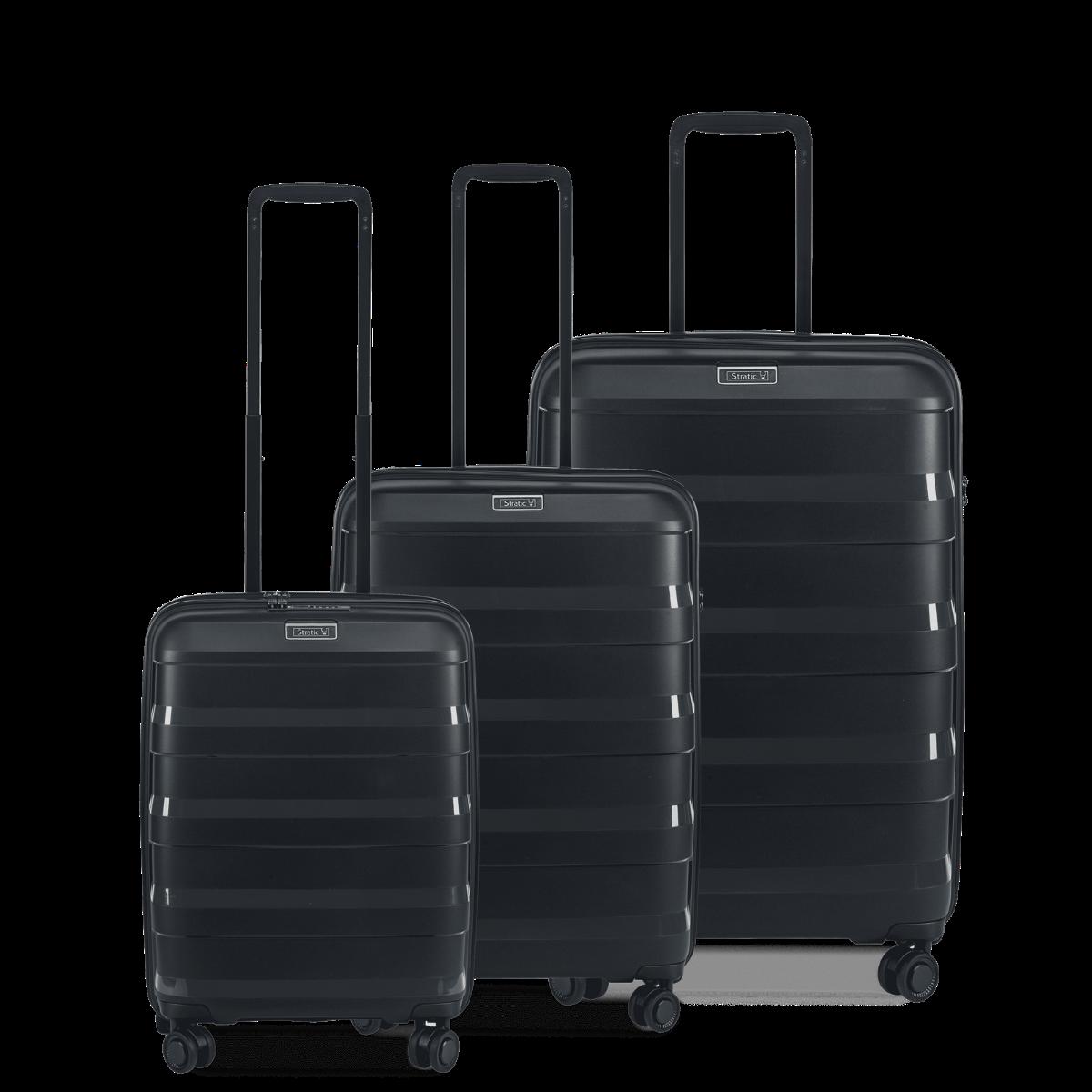 3-tlg. Hartschalen-Koffer-Set mit 4 Rollen, Straw - Black