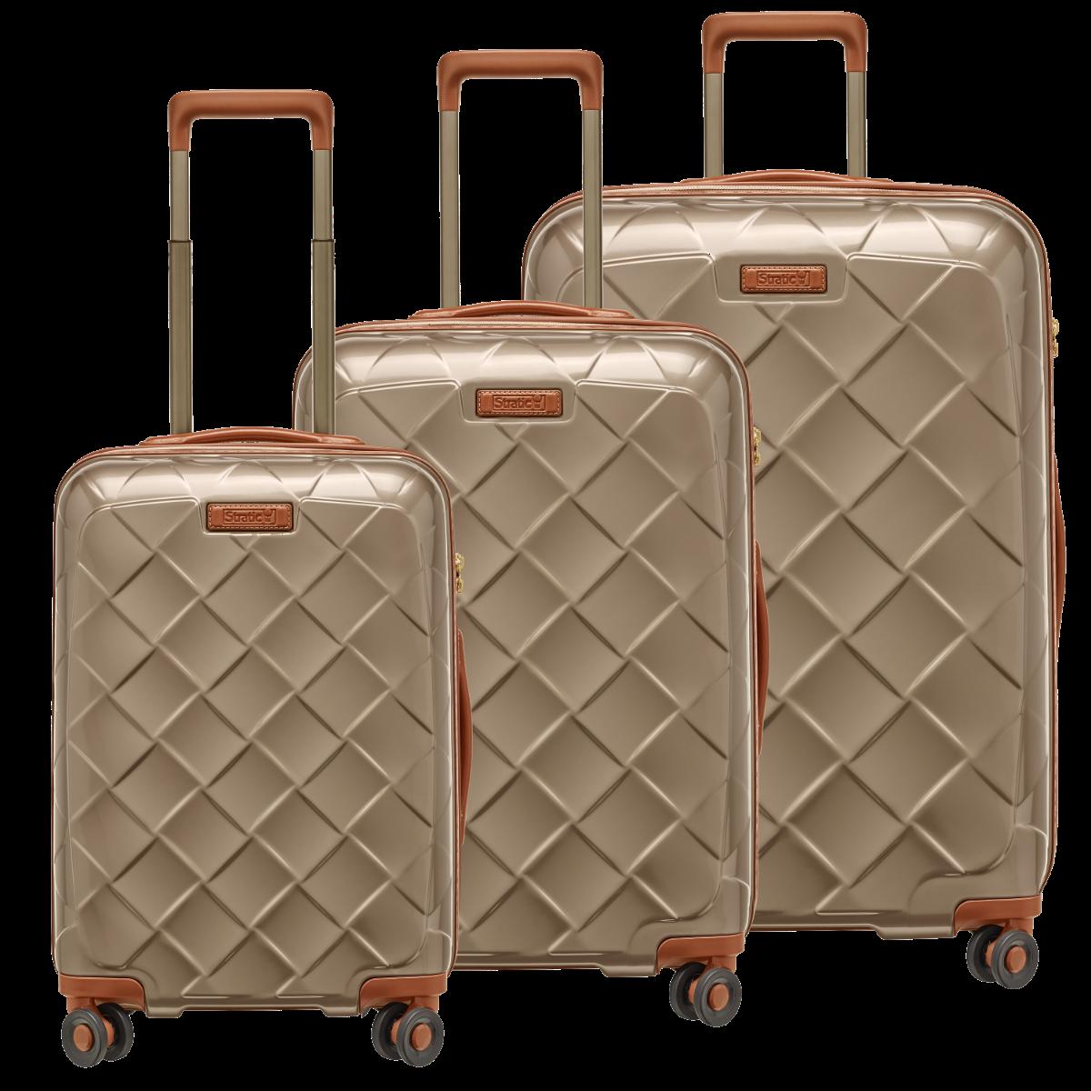 3-tlg. Hartschalen-Koffer-Set mit 4 Rollen, Leather & More