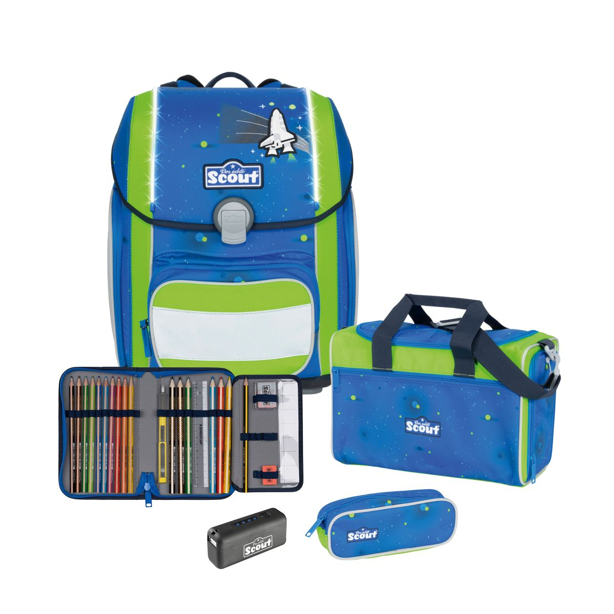 4-tlg. Schulranzenset Limitierte Auflage Genius inkl. Safety Light 19 Liter - Blue Space