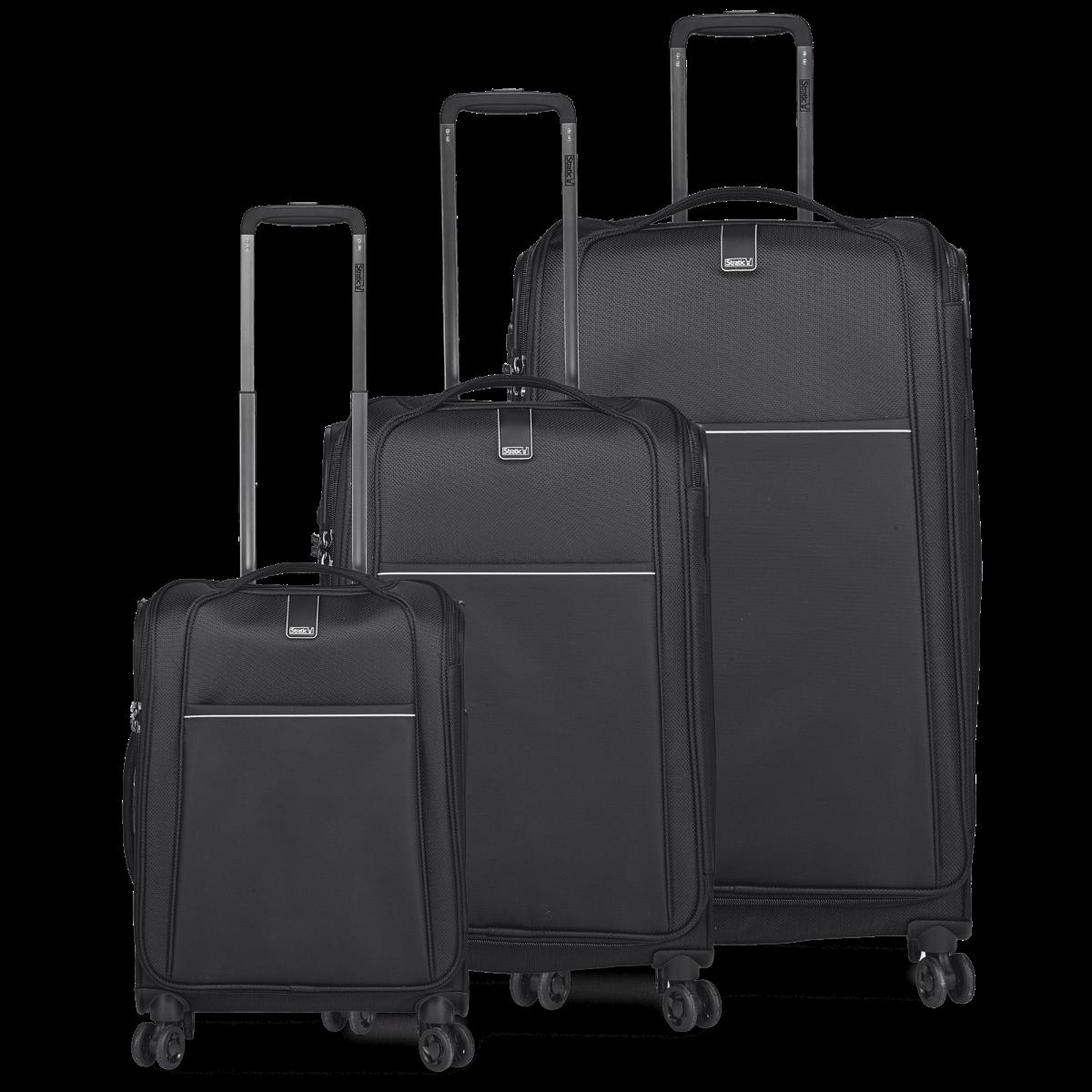 3-tlg. Weichschalen-Koffer-Set mit 4 Rollen, Unbeatable 4.0 - Black