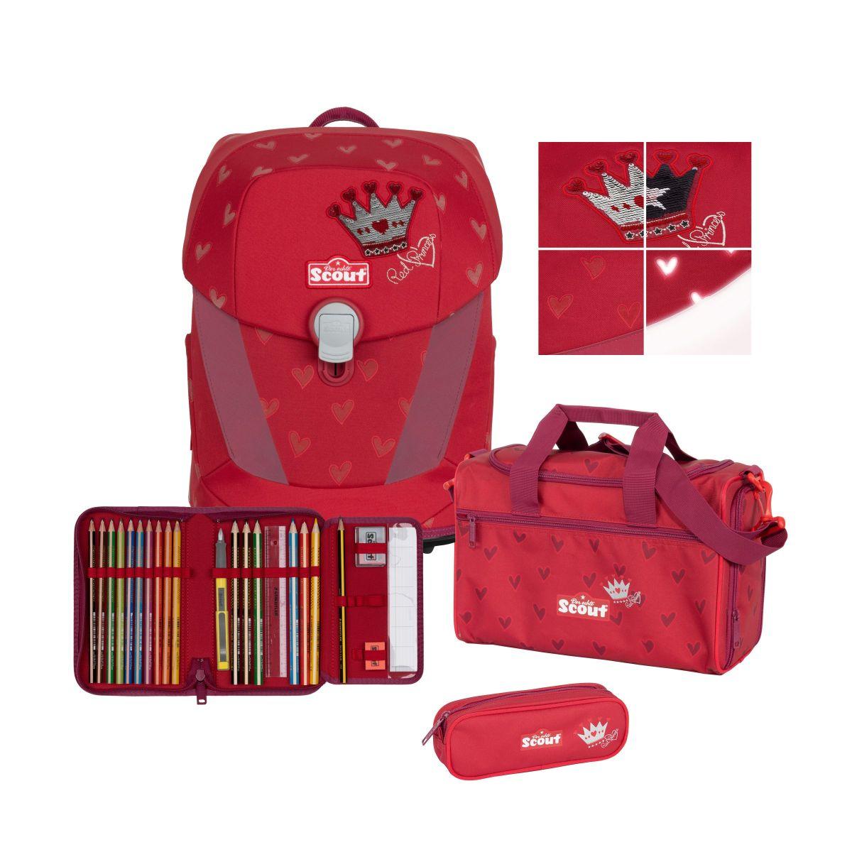 4-tlg. Schulranzenset Limitierte Auflage Sunny II Premium 19.5 Liter - Red Princess