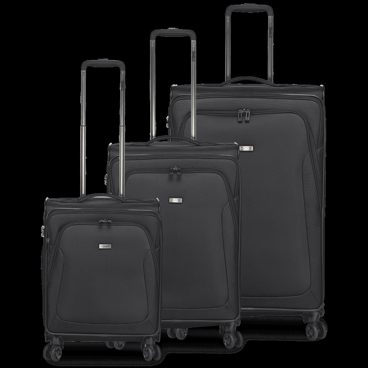 3-tlg. Weichschalen-Koffer-Set mit 4 Rollen, Trapez - Black