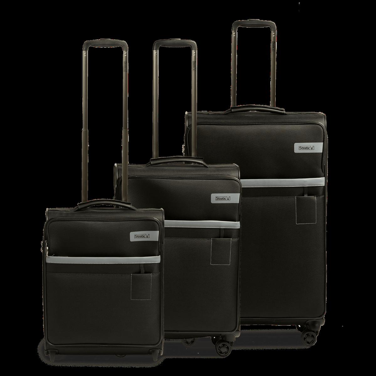 3-tlg. Weichschalen-Koffer-Set mit 4 Rollen, Stratic Light - Black