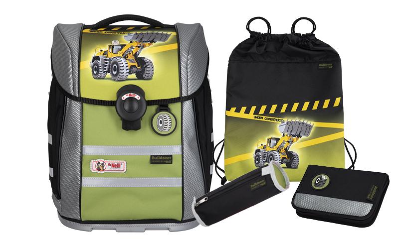4-tlg. Schulranzenset Ergo Primero Basic Set 20 Liter - Bulldozer