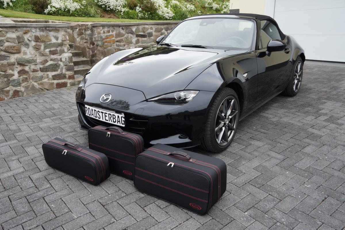 3-tlg. Kofferset Mazda MX-5 ND 89 Liter - Naht Rot, Innen Rot